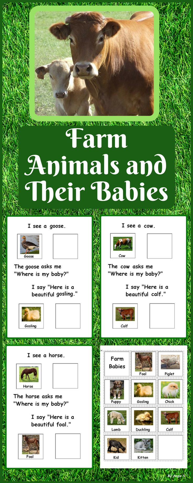 Farm Animals and Their Babies for Autism, Speech Therapy, ABA, Special Education, ESL This is a 11 page book great for young children ages 3-5 as well as for children with autism and special needs. #farmanimals #farm #vocabulary #adaptedbook #autism 3sped #specialeducation #earlyintervention #speechtherapy #slp #tpt #teacherspayteachers #teachingresource #farmbabies