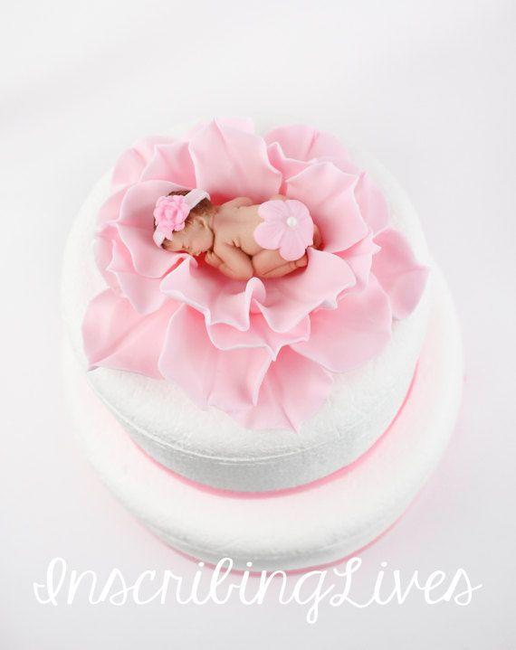 Baby On Flower Cake Topper Girl Baby Shower Cake Topper Pink