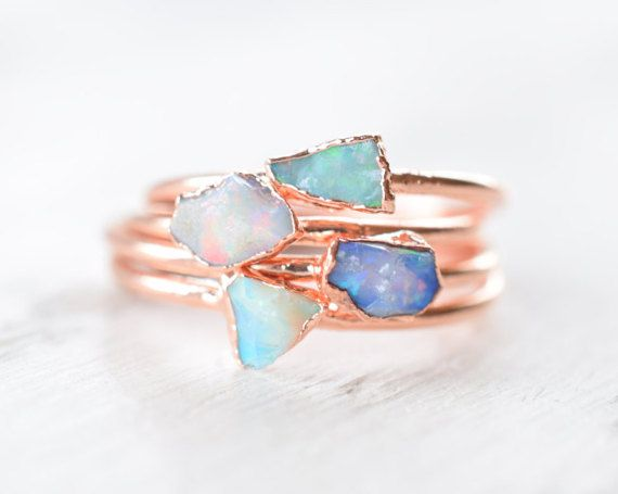 Raw fire opal rings