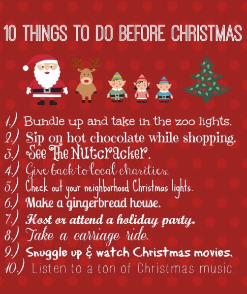 10 Things to do Before Christmas   merry + bright   Pinterest   Before christmas, Things to and ...