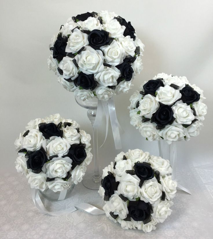 Artificial silk flower black roses white foam rose bridal wedding bouquet set ebay