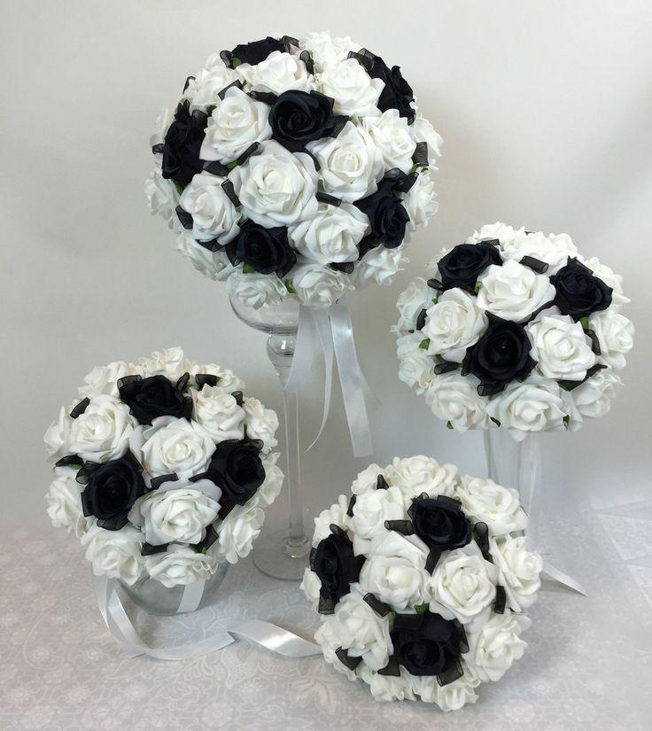 Artificial Silk Flower Black Roses White Foam Rose Bridal Wedding Bouquet SET | eBay
