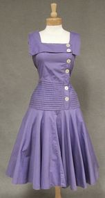Fabulous Mermaid Style Violet Cotton 1950's Sundress with Pleated Midsection