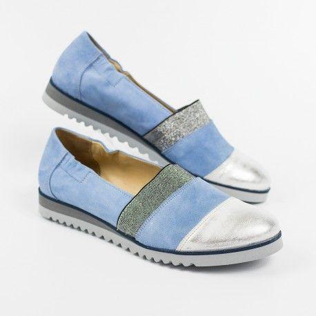 Dámska obuv - modré kožené balerínky / mokasíny