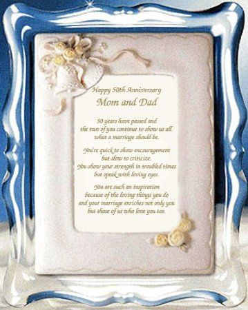 Mom And Dad 50th Anniversary Gift Parents Golden