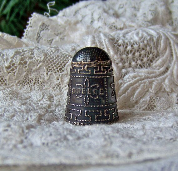 Vintage Sterling Silver Thimble Greece 925 by cynthiasattic, $49.00