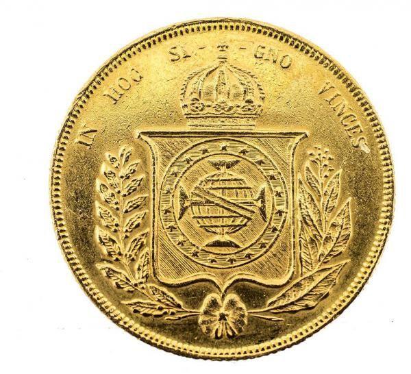MOEDA BRASILEIRA EM OURO DE 1853. PESO 17.8 GRAMAS MEDE..