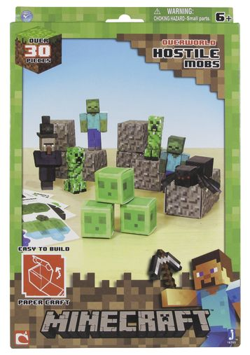 With Minecraft Paper Craft Hostile Mobs 30 Piece Pack  you can build your own paper craft Minecraft worldPack contains:  3 Zombies, Creepers, Slimes, Cave Spiders, Witches, 10 Gravel Blocks and a Sheet of 10 stickers.