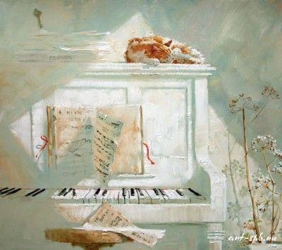 кошка пианино картина