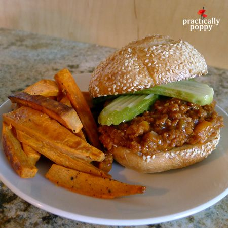 Sloppy Joe's from scratch - Super easy weeknight meal - serve with oven-baked sweet potato fries