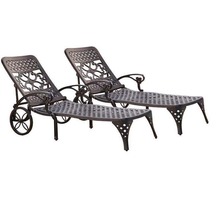 Biscayne Chaise Lounge Chairs (Set of 2) by Home Styles (Brown), Patio Furniture (Aluminum)