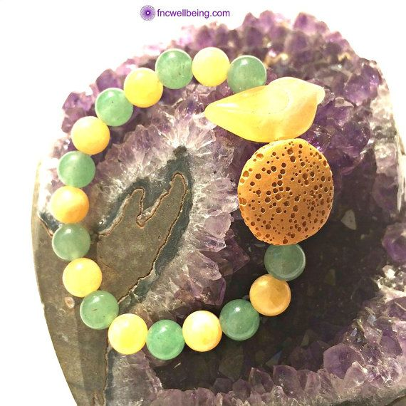Lava Rock Diffuser Bracelet w Bird Yellow Jade by FNCwellbeing
