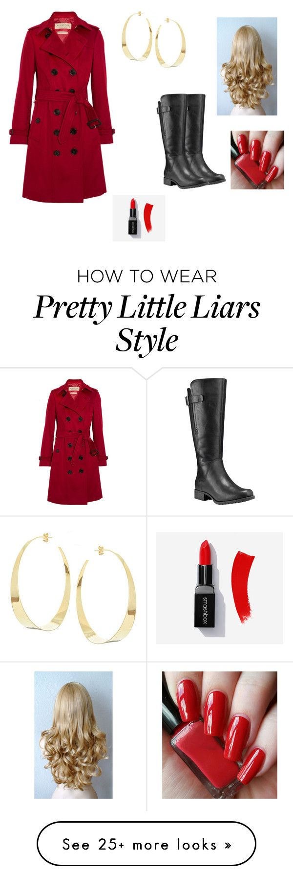 """What are you guys being for Halloween I'm red coat from pretty little liars"" by oonabaard on Polyvore featuring Burberry, Timberland and Lana"
