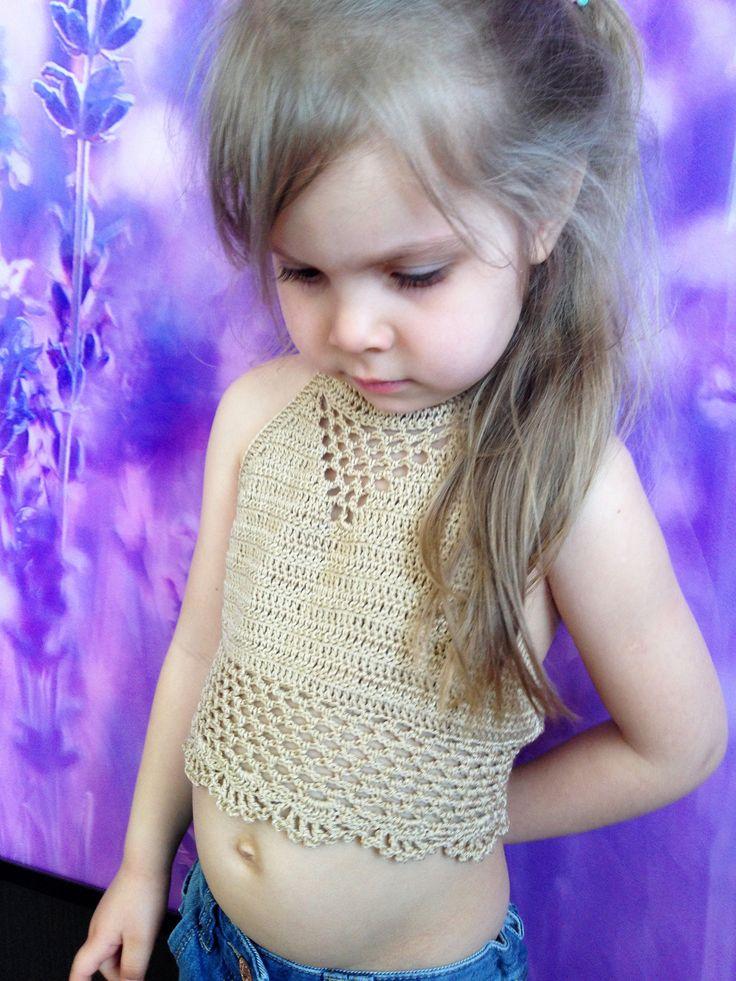 Crochet toddler baby lace top bra Ruffles open back top