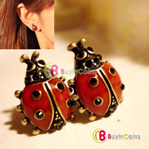 Fashion Cute Nice Style Red Girls Alloy Lady Pair Beetle Ladybug Stud Earring -- BuyinCoins.com 11\ 0.98$