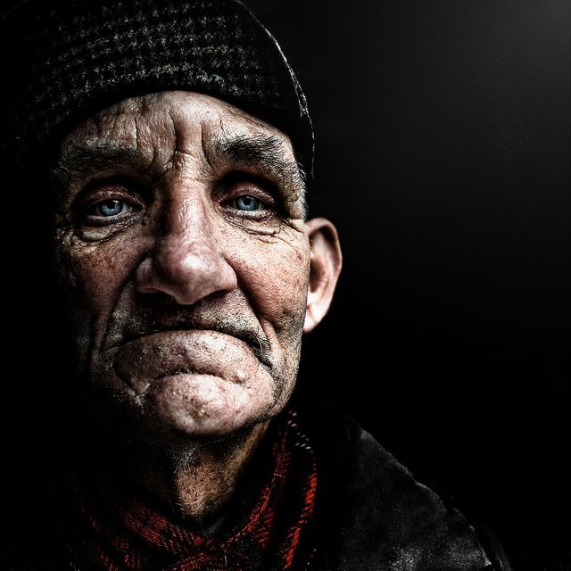 Lee Jeffries photograph of homeless man. He has lived with and made friends with these homeless people gaining their trust before he photographs them.