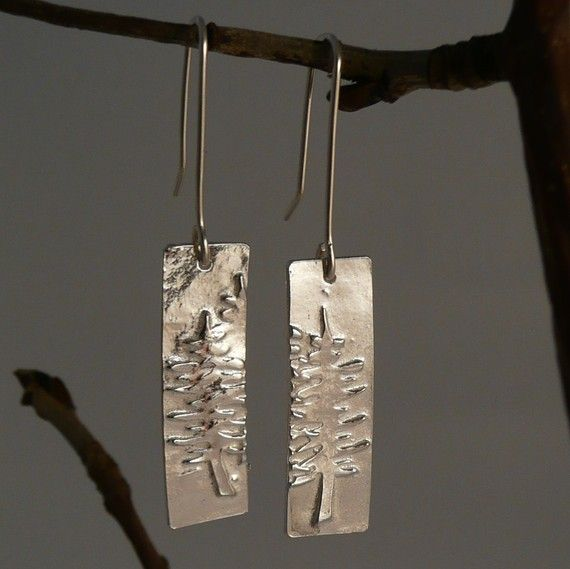 Sterling Silver Forest Earrings on Etsy