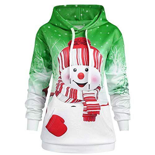 b805aee8f516 Vectry-Weihnachten-Kapuzenpullover-Damen-Mode-Schneemann-Gedruckt-Hoodies-
