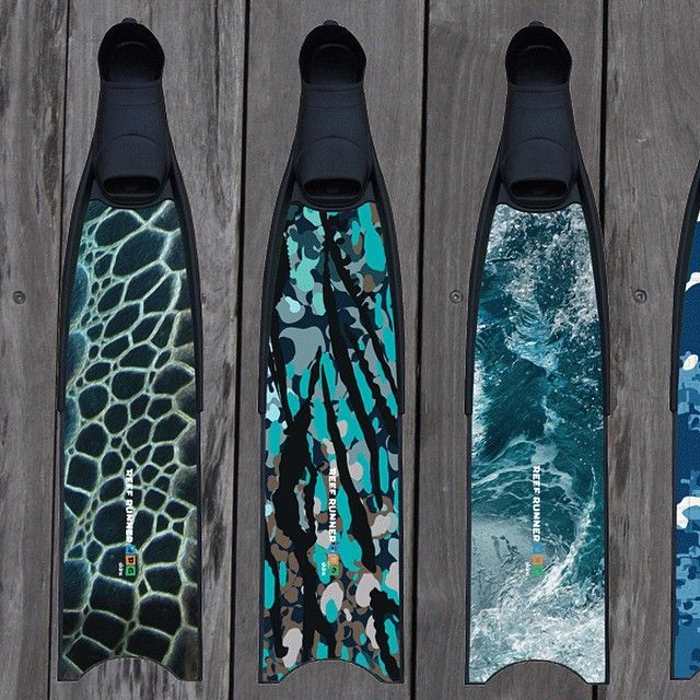 "UV Protected Fin Skins - $39.95 - www.reefrunnergear.com  For free domestic shipping, enter code ""FREESHIP"" at checkout!  #finskins #freediving #blades"