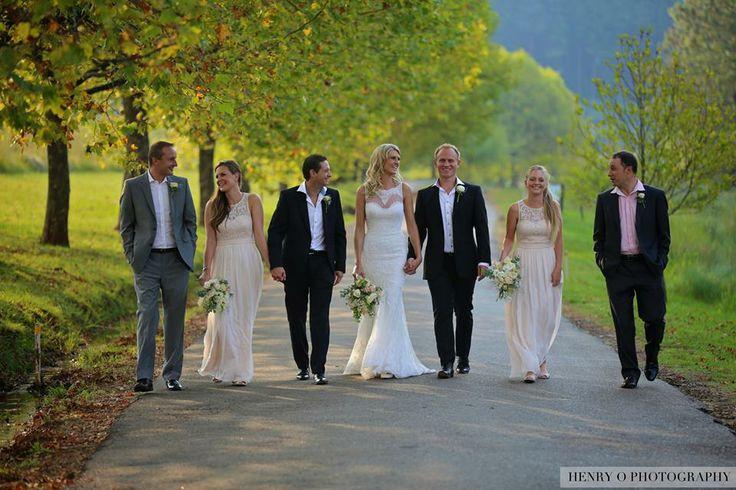 The couple with their entourage