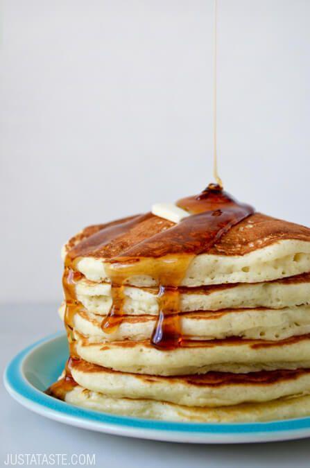 Light and Fluffy Buttermilk Pancakes   recipe via justataste.com