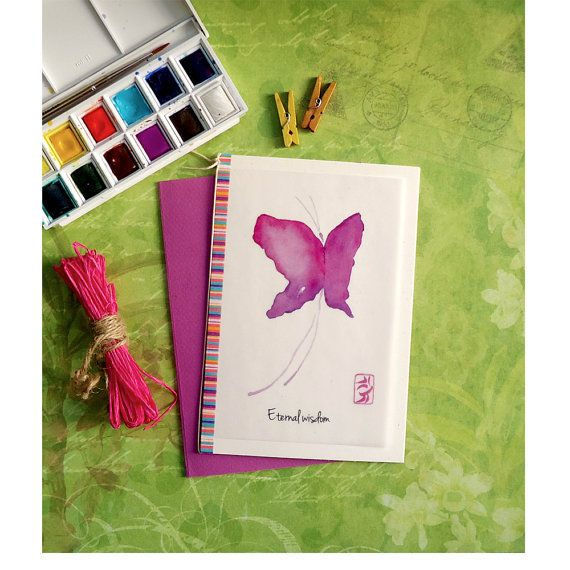 Energy card purple butterfly rice paper by DancingSoulshop on Etsy