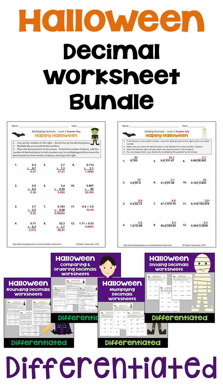 Halloween math is fun for kids with this Halloween Decimal Worksheet Bundle  for 4th [ 1288 x 736 Pixel ]