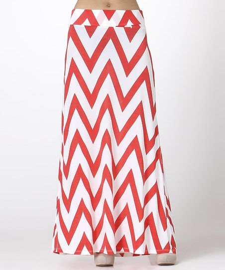 Red & White Zigzag Maxi Skirt