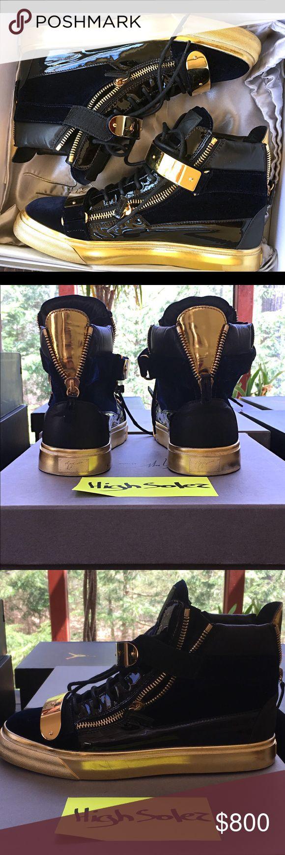 Giuseppe Zanotti Design Velvet High Top Very LIGHTLY used navy blue high top sneaker with golden bar Giuseppe Zanotti Shoes Sneakers