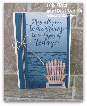 I am using the rest of the Color Theory dsp stack sheet that I had used on the previous card posted. This card base is the note card size where you get 20 scored note cards and envelopes. I love the High Tide waves and grassy reeds! The sentiment and the chair are from the upcoming Stampin'Up! annual catalog and are part of the Colorful Seasons bundle! Current supplies are shown below. Just click and order. And while you are shopping, remember that some of the retiring products are sale p...