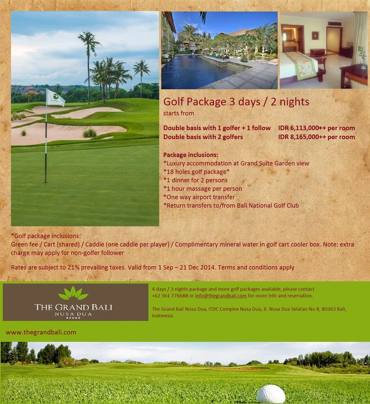 Play golf at Bali National Golf Club in Nusa Dua, book with The Grand Bali Nusa Dua and save