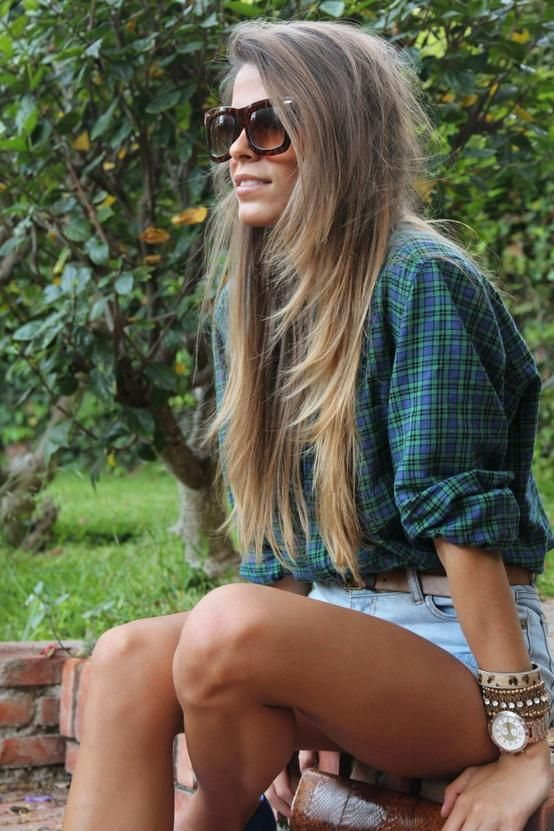 long brown hair - with blonde ombre at the bottom