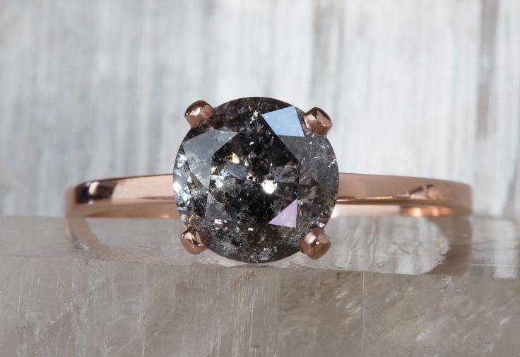 Natural Salt + Pepper Galaxy Solitaire Diamond Ring