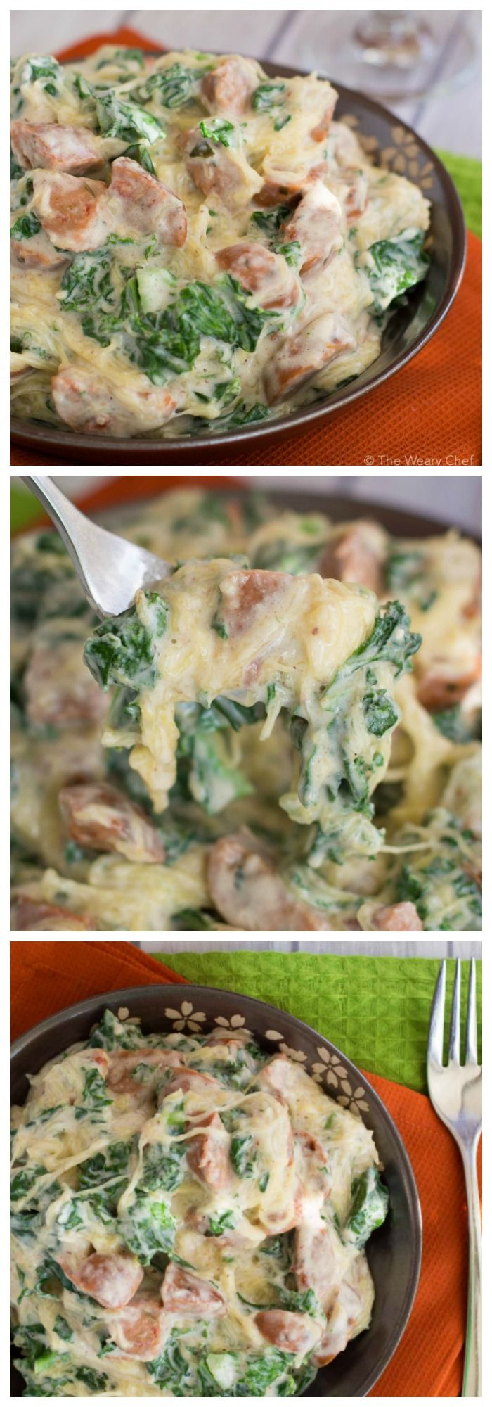 Check out this super healthy sausage alfredo recipe that includes kale and spaghetti squash. It's a guilt-free as comfort food gets!