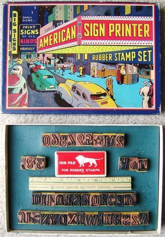 Vintage American Sign Printer Rubber Stamp Set by SMECO #SUPERIORSetNo4110 #WoodMountedRubberStampSet