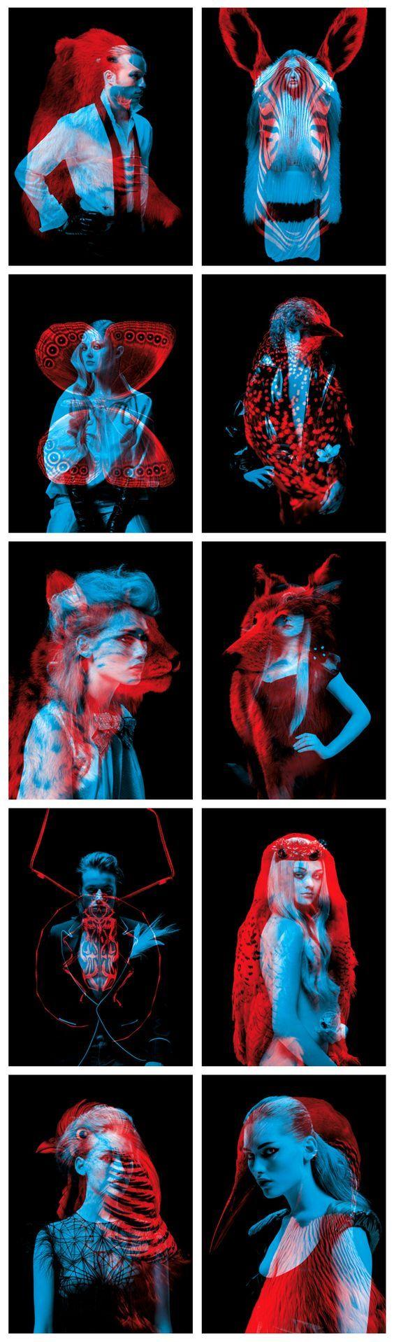 Series of double exposure portrait by Helmo. #photography #portrait #animal…: