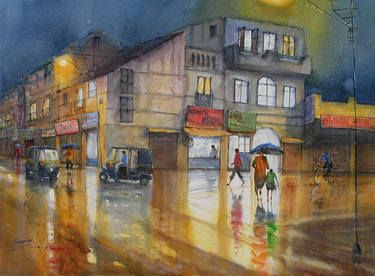 Rainy Night-11.Now I am paint at pain air with watercolor on paper (Material use artist quality Waterford Rough, CP and Arches Cold Press 300gsm. Paper and Schmincke artist watercolor, Winsor and Newton artist watercolor)