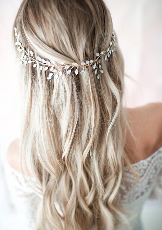 Boho Opal Crystal Wedding Hair Accessory Crown Headband Or Halo Wreath Vine In Gold Zaria Alison Iovino Frisur Braut Haarkranz Hochzeit Boho Haare