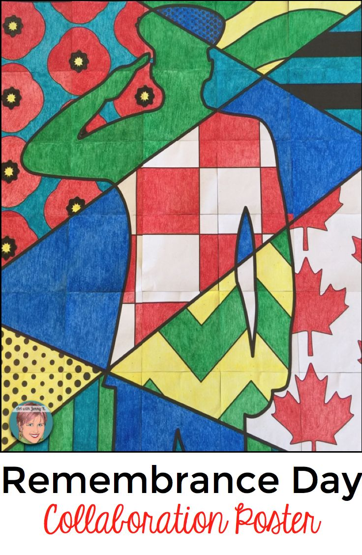 """Remembrance Day art project for kids. Collaboration group poster - each child colors one part of the poster to contribute to a large (approx. 35"""" x  42"""") poster."""