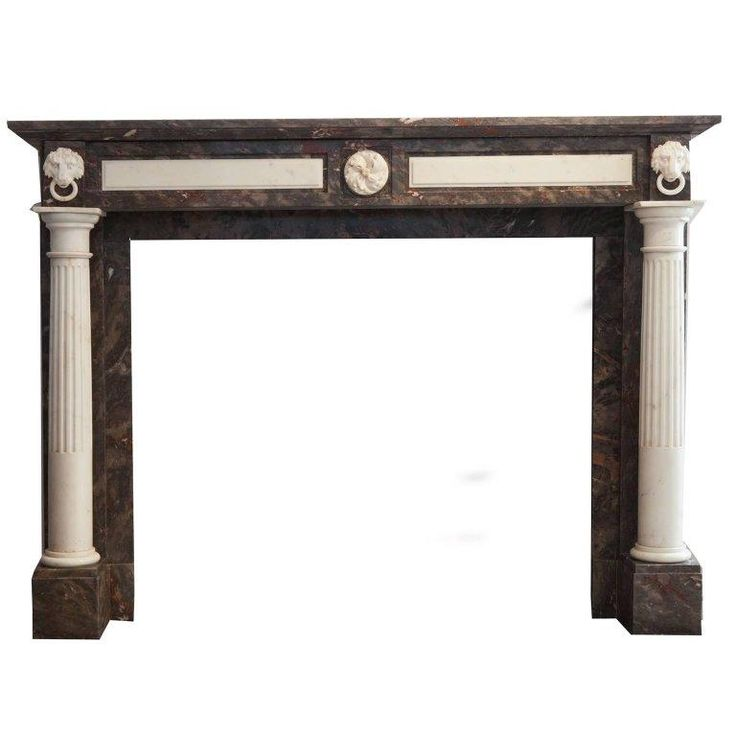 19th Century Empire Marble Fireplace Mantelpiece, Carved Columns And Lion Heads
