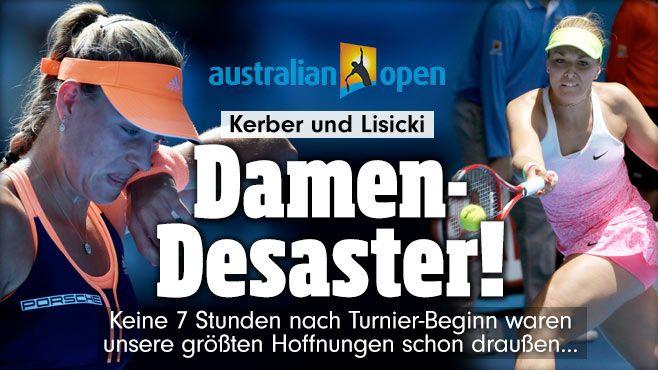 """Kerber+Lisicki:Blitz-Aus in Australien http://www.bild.de/sport/mehr-sport/tennis/blitz-aus-in-australien-39395128.bild.html Kerber:""""Das war einer meiner schlechtesten Tage in meiner Karriere. So etwas gibt es. Ich weiß nicht, was los war. Ich habe mich schlecht bewegt+keinen Ball gespürt."""" Die Berlinerin S.Lisicki (25) unterlag der Französin Kristina Mladenovic (21) mit 6:4, 4:6, 2:6. MyMobberFromBerlin++,NoWonderNoLuck+BothFoughtTooFew/NoStrongMentality,NotLikeSteffiGraf,2014…"""
