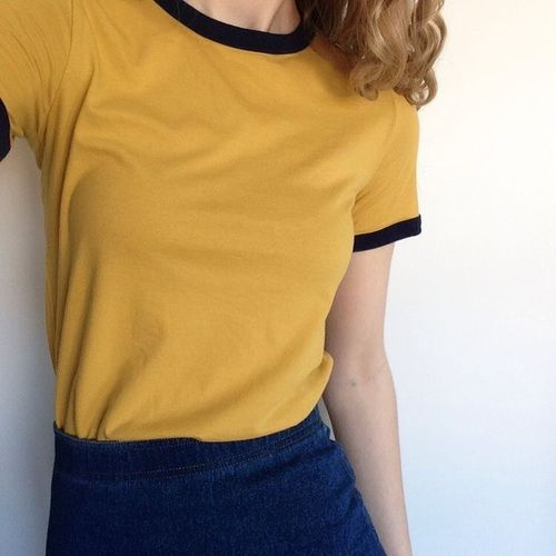 yellow, indie, and grunge <<< this would look cute with a pair of overalls
