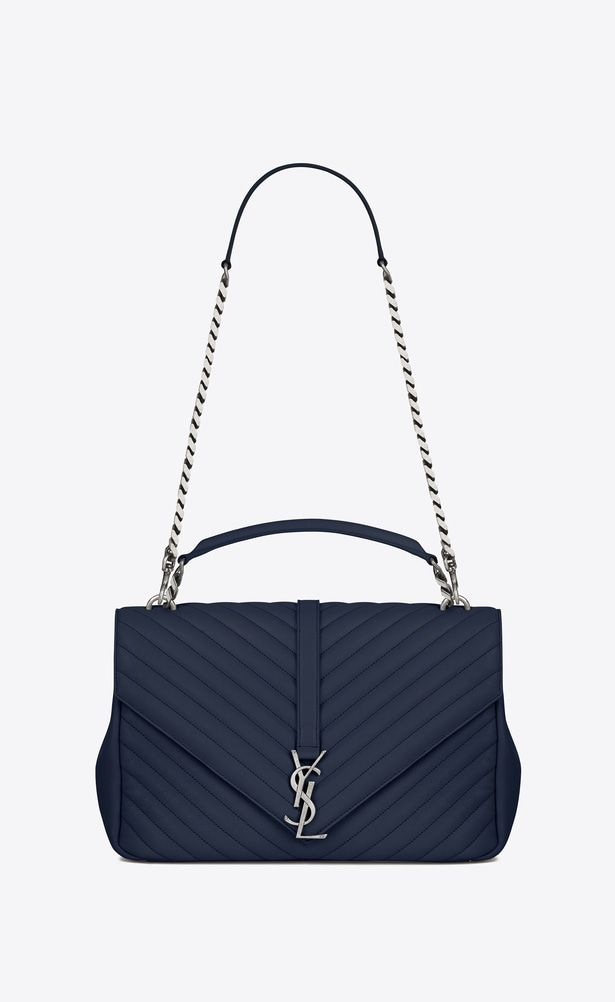 fa372a485f SAINT LAURENT Monogram College Woman large collège bag in navy blue ...