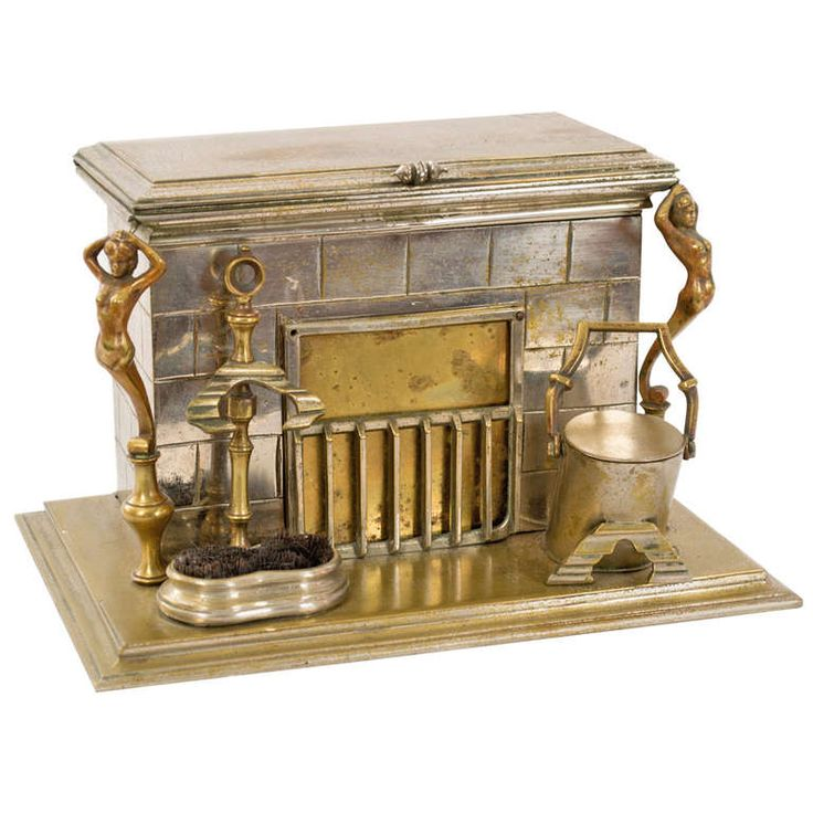 Heavy Brass Desk Caddy in the Form of a Fireplace Mantle   From a unique collection of antique and modern desk accessories at https://www.1stdibs.com/furniture/more-furniture-collectibles/desk-accessories/
