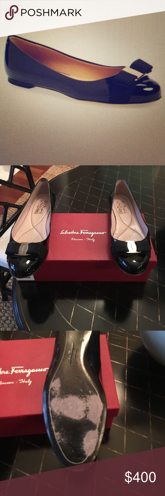 Salvatore Ferragamo flats for sale Ferragamo Varuna leather flats for sale, absolutely no damage to top leather. Slight wear on bottom of shoes. Black patent silver logo-embossed metal buckle and grosgrain bow. Salvatore Ferragamo Shoes