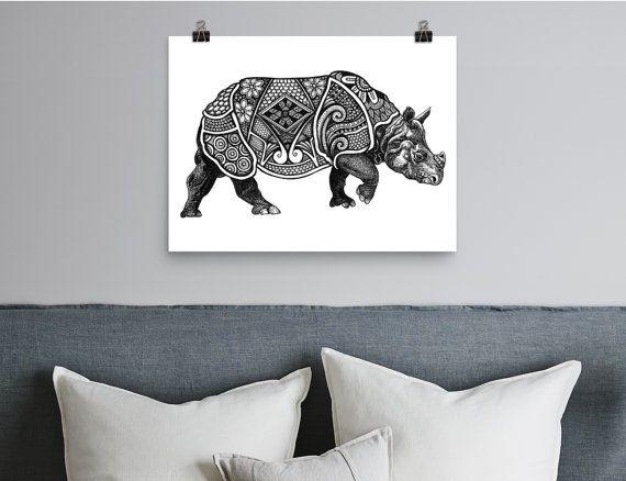 Radical Rhino - Printable Wall Art,  Printable Art, Boho, Rhino Illustration, Boho, Black & White, Decor, Instant download, Tribal, African