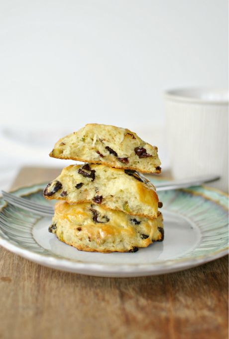 Dark Chocolate Chip, Cranberry-Pistachio Scones