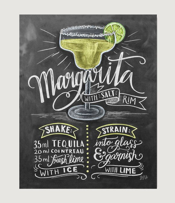 Bar Decor Chalk Art Margarita Cinco de Mayo by LilyandVal