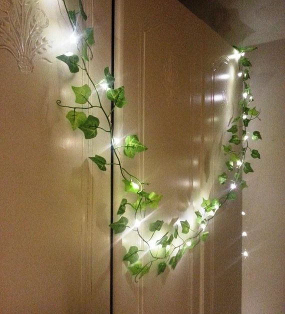 Green Ivy leaf garland 2m with mini led fairy string lights