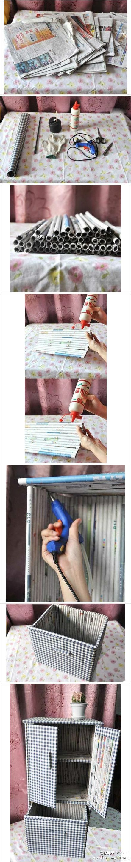 Tutorial to make a rolled newspaper small cabinet with drawer. This one is fabric covered...great recycling! via duitang.com